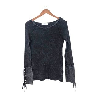 Able Lace Up Cuff Black Acid Wash Waffle Knit Top